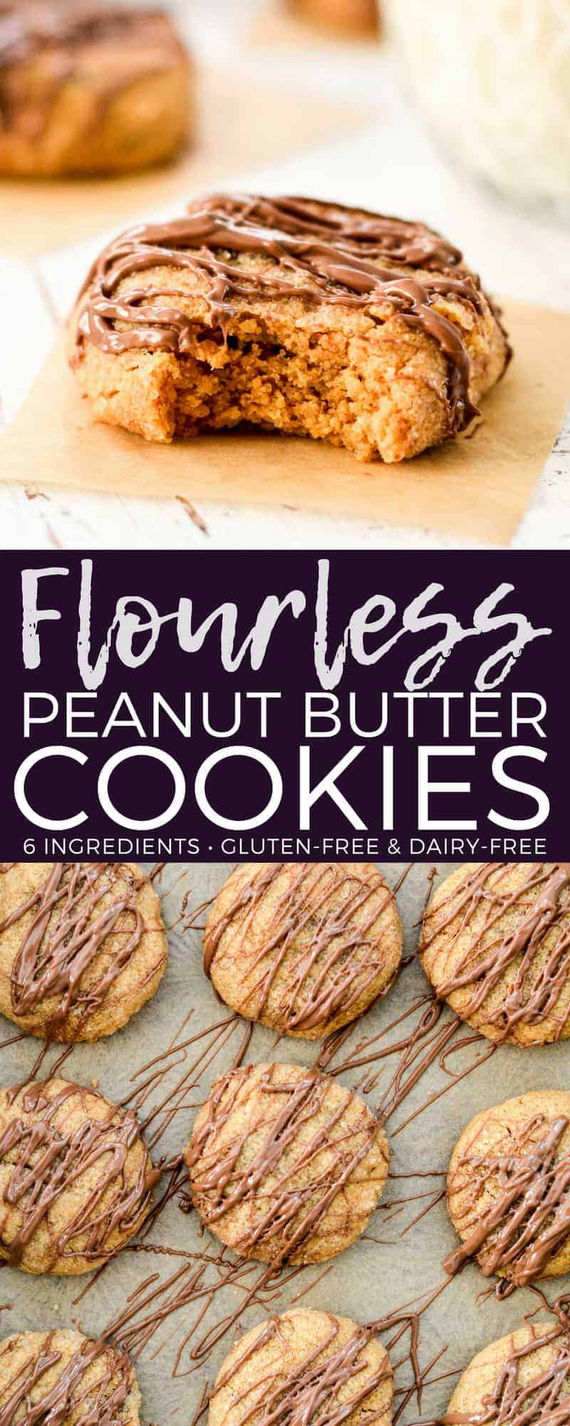 Flourless Peanut Butter Cookies are chewy yet still doughy, cookie perfection! This is the easiest recipe ever! It's made with only 6 ingredients and ready in 15 minutes! Gluten & dairy free! #flourless #peanutbutter #cookies #easy #recipe #glutenfree #dairyfree