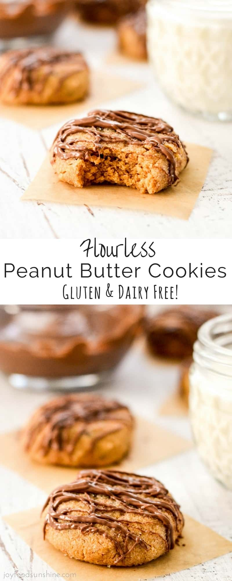 Flourless Peanut Butter Cookies! The easiest recipe ever made with only 6 ingredients and ready in 15 minutes! Gluten & dairy free!