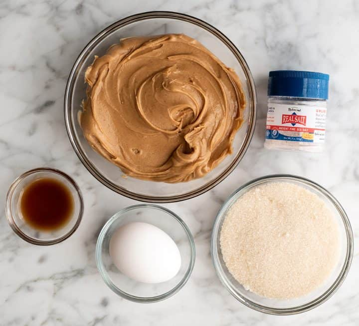 overhead view of the ingredients in this flourless peanut butter cookie recipe
