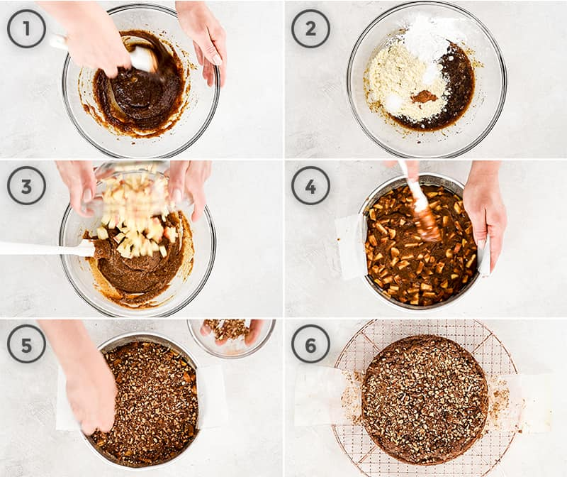 overhead view of a collage of six pictures showing the steps in making this paleo gluten-free apple cake recipe