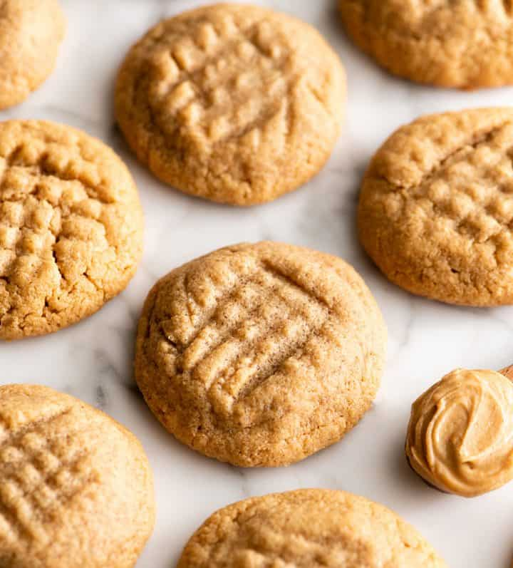 front view of 6 flourless peanut butter cookies