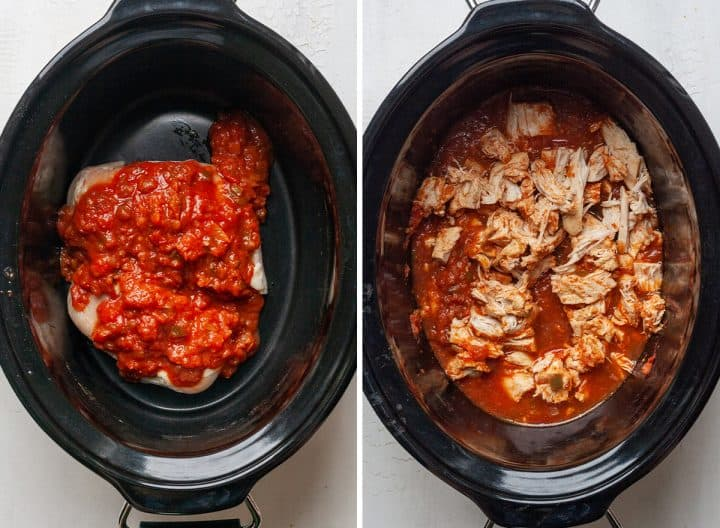 two photos showing how to make chicken chili - cooking and shredding the chicken