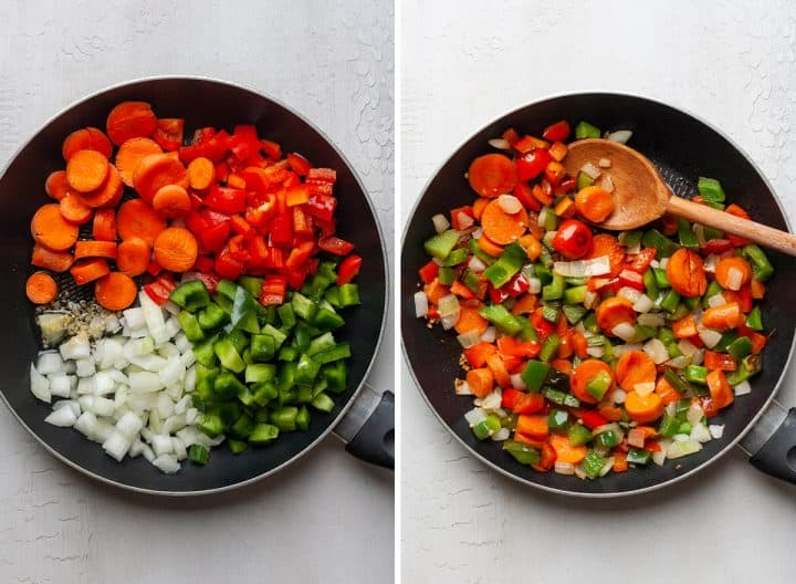 two photos showing how to make chicken chili cooking the vegetables