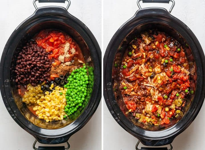 two photos showing how to make chicken chili adding the rest of the ingredients to the crockpot and cook