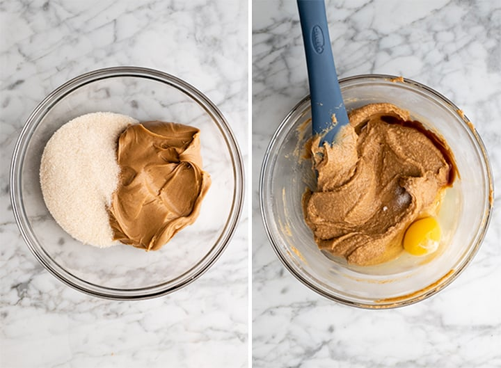 two photos showing how to make flourless peanut butter cookies