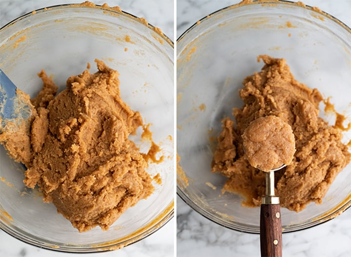 two photos showing how to make gluten-free peanut butter cookies