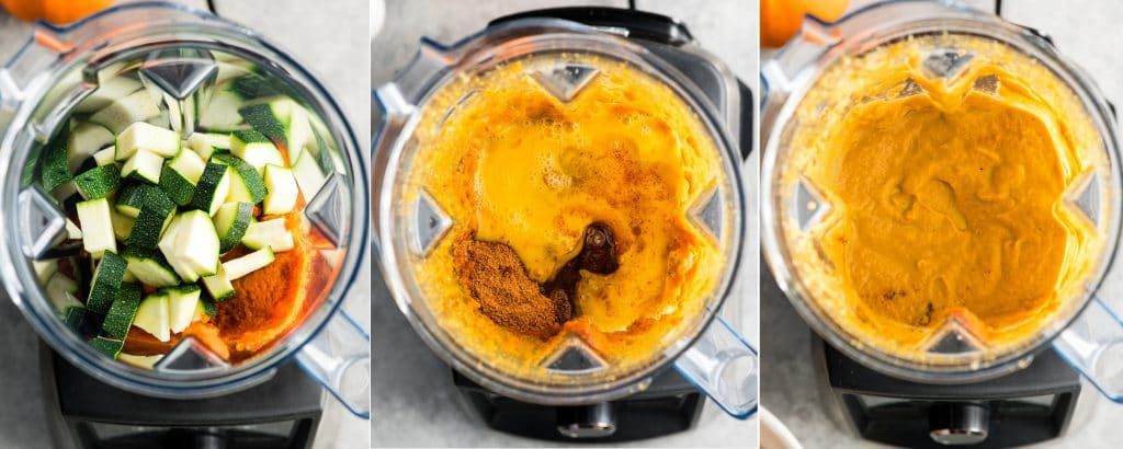 collage of three photos showing an overhead view of the steps in making this pumpkin zucchini muffins recipe