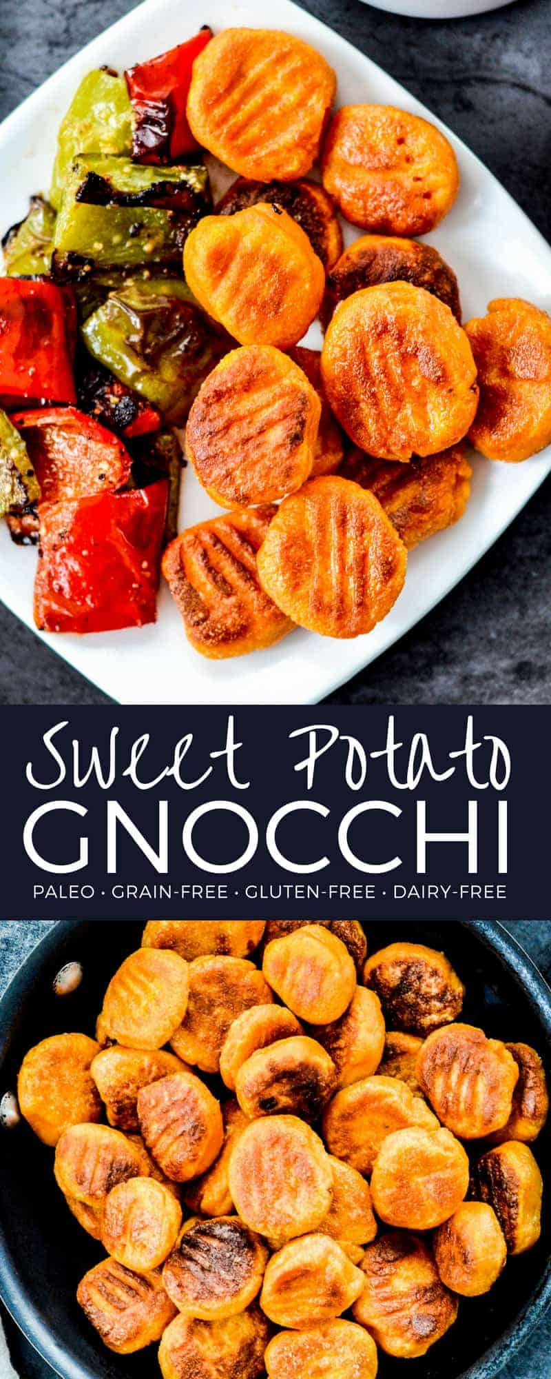 Paleo Sweet Potato Gnocchi Recipe! Made with only 6 ingredients this delicious homemade pasta is gluten-free, grain-free & dairy-free! It's boiled then browned in olive oil for an extra special, rich flavor and perfect texture! #paleo #sweetpotato #gnocchi #homemade #recipe #glutenfree #grainfree #dairyfree