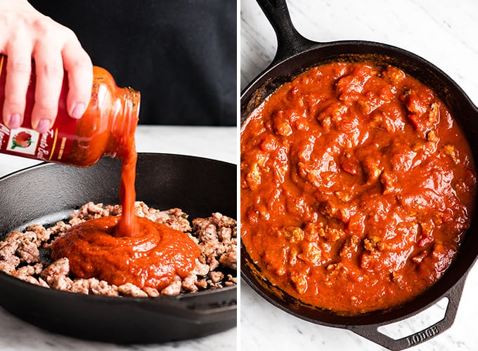 two photos, the left shows pouring sauce into a cast iron skillet with browned sausage. The right photo shows the sauce after it has been mixed.