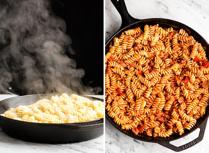 two photos, the left shows a front view of steaming pasta added to a cast iron skilled. The right photo shows an overhead view of the pasta mixed into the sauce.