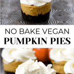 2 images with title in middle. The top photo has 2 vegan pies in a row. The bottom photo has four vegan pies with a pumpkin in the background.