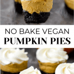 2 images with title in middle. The top photo has 4 vegan pies with a fork in one. The bottom photo has four vegan pies with a pumpkin in the background.