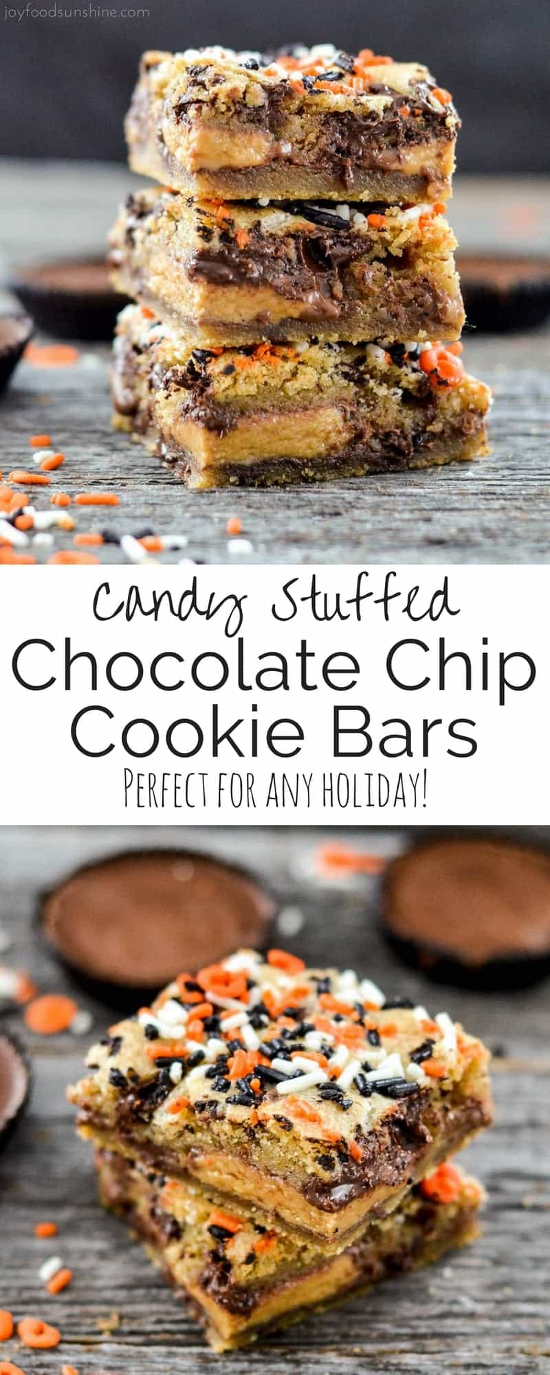 Candy Stuffed Chocolate Chip Cookie Bars! Two layers of gooey chocolate chip cookie dough stuffed with the candy of your choice! The perfect dessert recipe to use up that Halloween Candy or adapt them for any holiday!