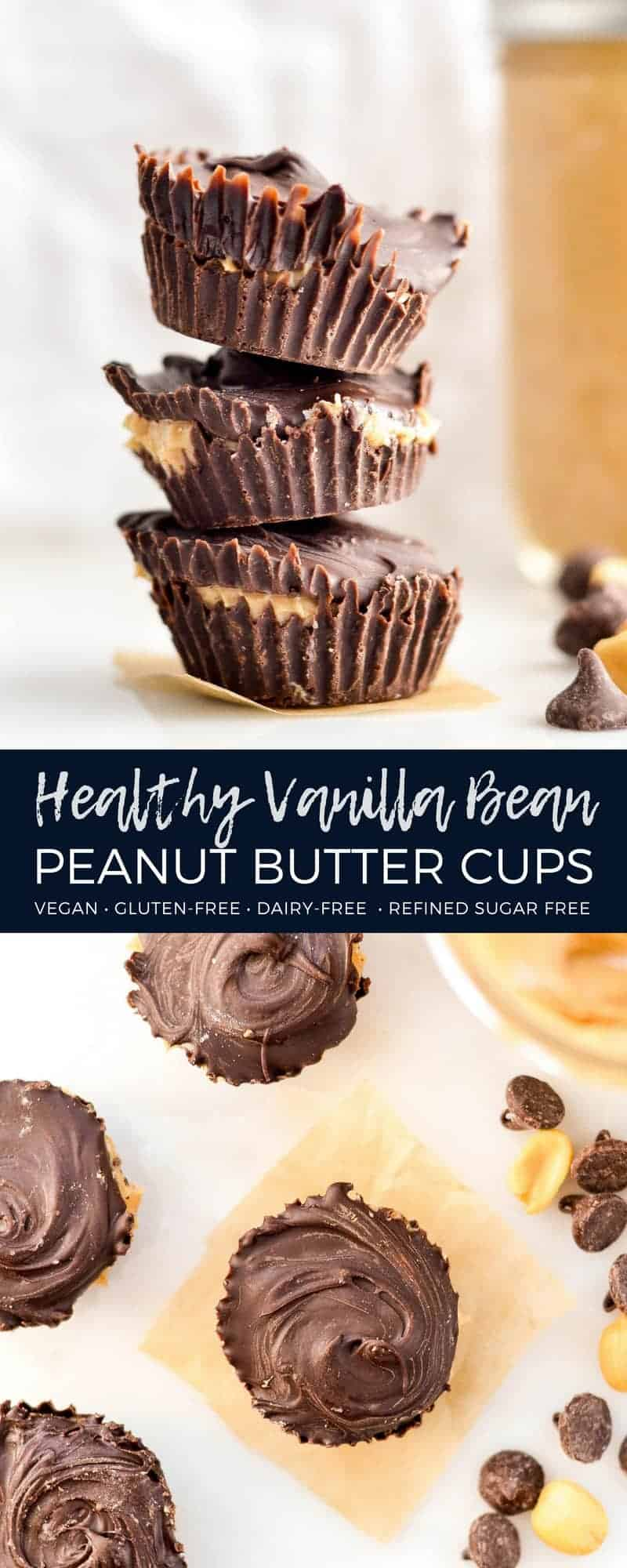Healthy Homemade Peanut Butter Cups! An easy, two ingredient recipe for chocolate & peanut butter lovers everywhere. Gluten-free & dairy-free! #peanutbuttercups #homemade #recipe #glutenfree #dairyfree