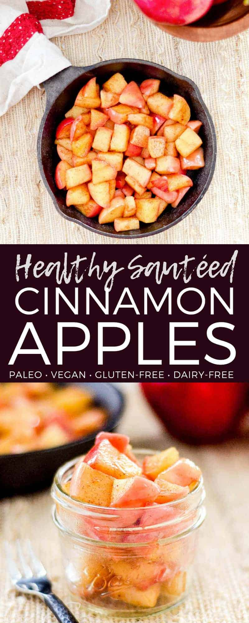 These Stovetop Cinnamon Sautéed Apples taste like a warm apple pie, but they come together in a fraction of the time and are SO much healthier! This recipe is gluten-free, dairy-free, refined sugar free, vegan AND paleo! Perfect for breakfast, a snack, or dessert!  #apples #stovetop #cinnamon #healthyrecipe #dessert #breakfast #snack #paleo #vegan #glutenfree #dairyfree #refinedsugarfree