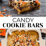 The top photo has two cookie bars and the bottom is a picture of the cookie bars in a pan with sprinkles on it.