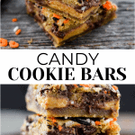 The top photo is 2 cookie bars stacked. The bottom has 3 cookie bars stacked on top of each other.