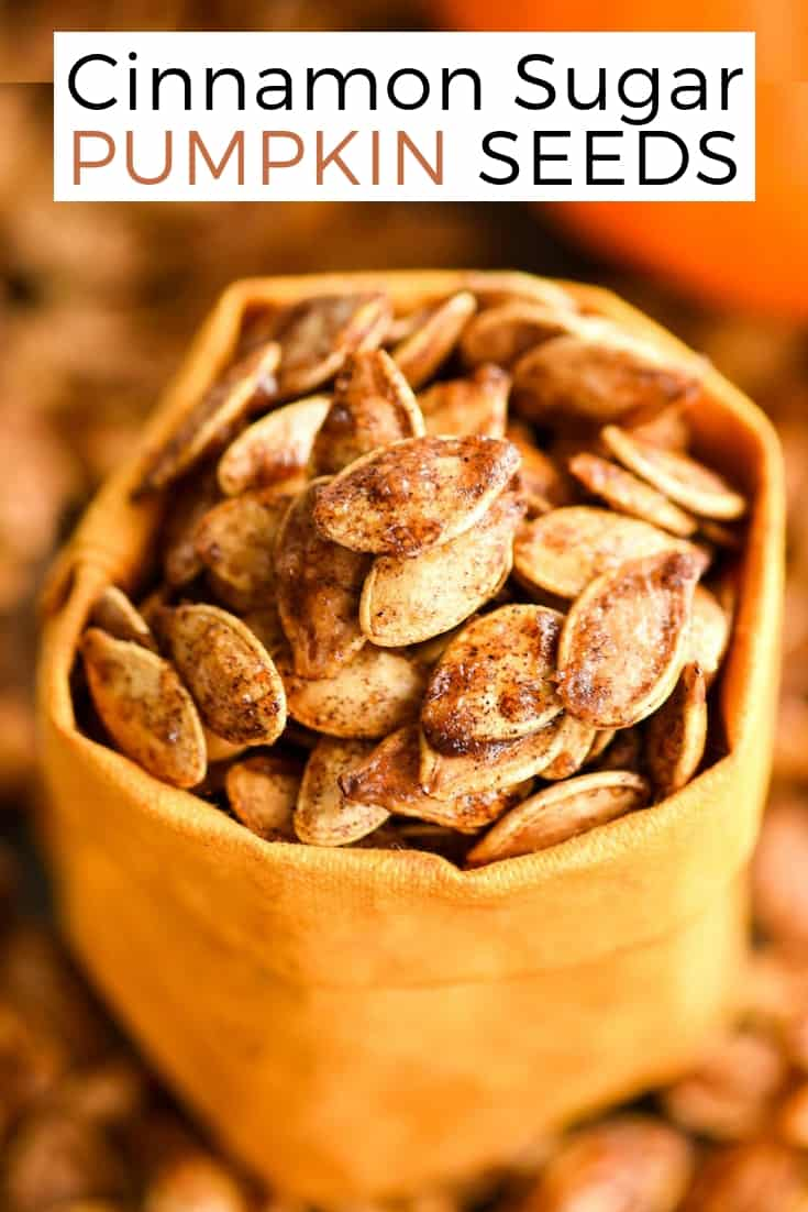Homemade Roasted Cinnamon Sugar Pumpkin Seeds Recipe! Don't throw away the seeds when you carve pumpkins this year! Save them and make this recipe for the perfect sweet and salty fall snack! Vegan, gluten-free and dairy-free! and paleo-friendly! #pumpkin #pumpkinseeds #homemade #healthy #recipe #glutenfree #dairyfree #vegan #cinnamonsugar #paleo