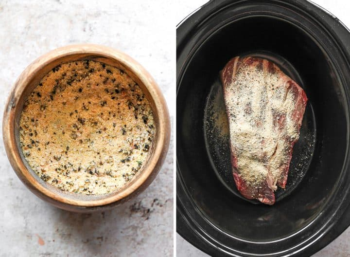 two photos showing how to make slow cooker pot roast