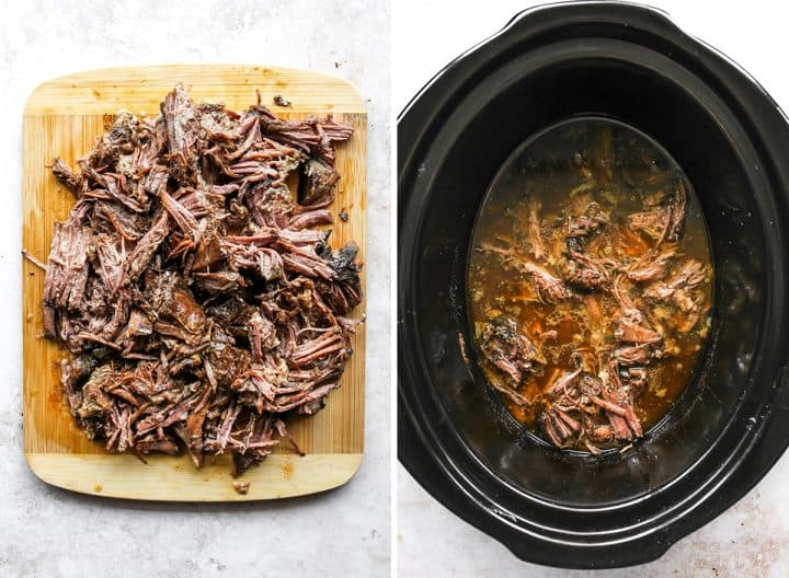 two overhead photos showing how to make Slow Cooker Pot Roast