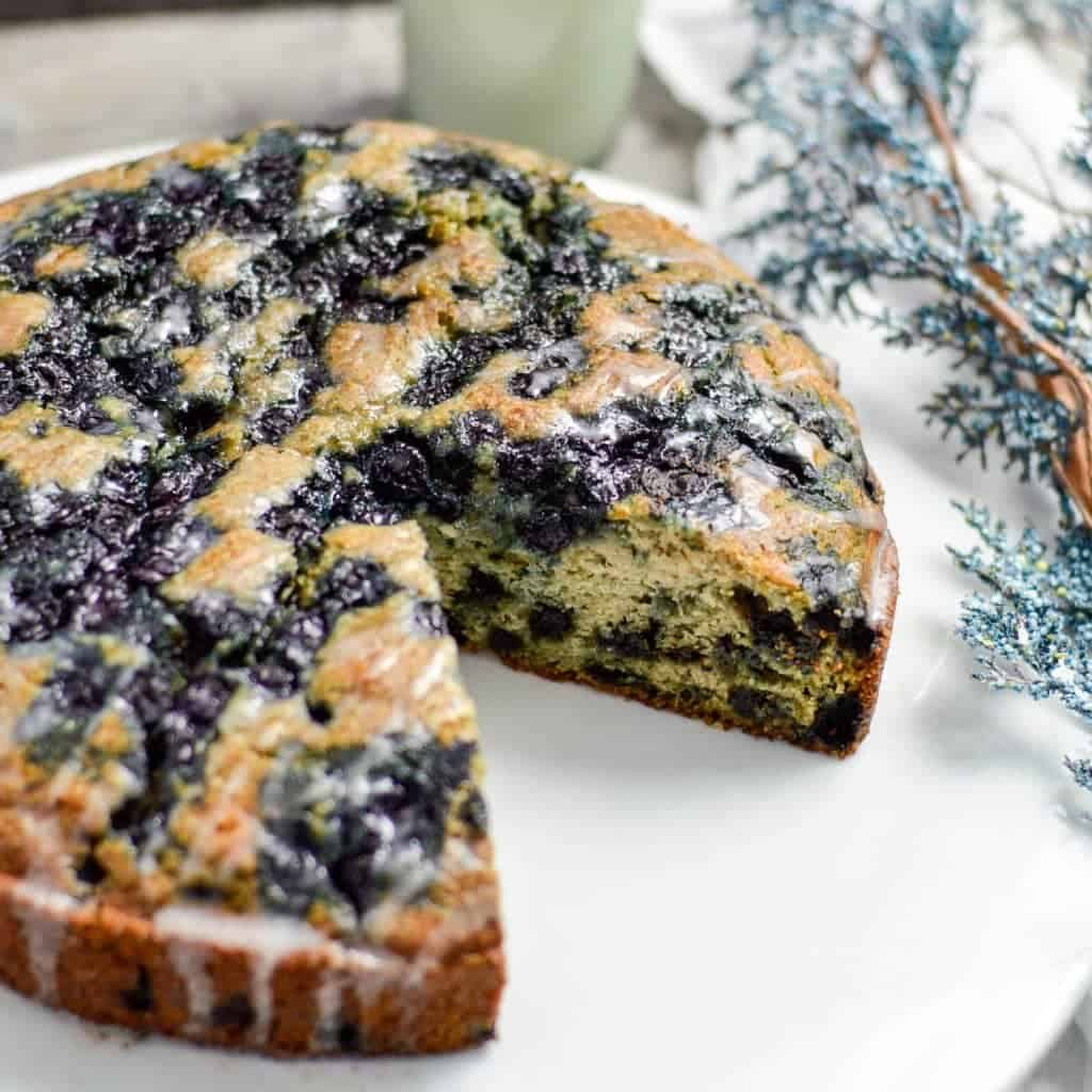 This lightened-up Blueberry Coffee Cake Recipe is the perfect breakfast for a special occasion! It is dairy-free & gluten-free and feeds a crowd!