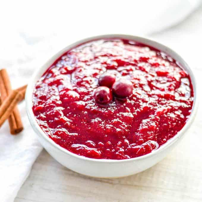 front view of a bowl of Homemade Cranberry Sauce with Orange Juice