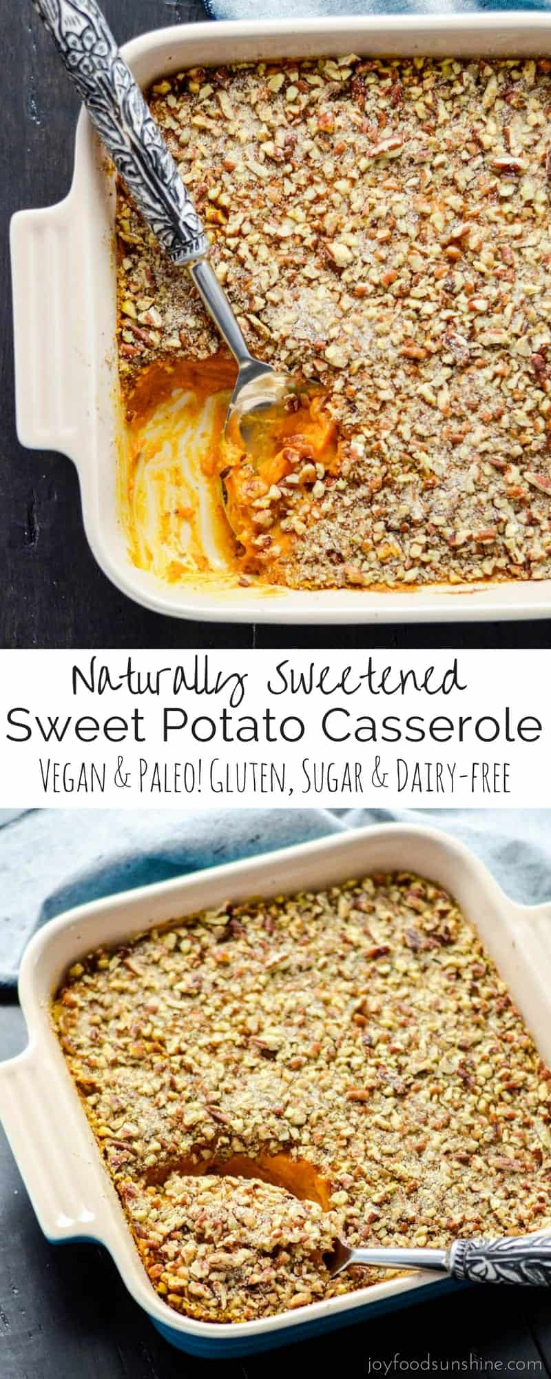 This Healthy Sweet Potato Casserole recipe is the perfect Thanksgiving side dish! It's only sweetened with applesauce and is paleo, vegan, gluten-free, dairy-free & sugar free!