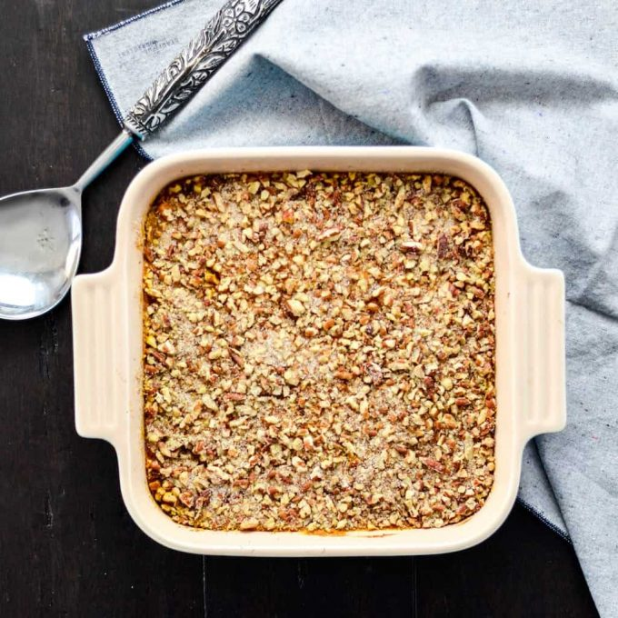 Overhead view of healthy sweet potato casserole a square baking dish