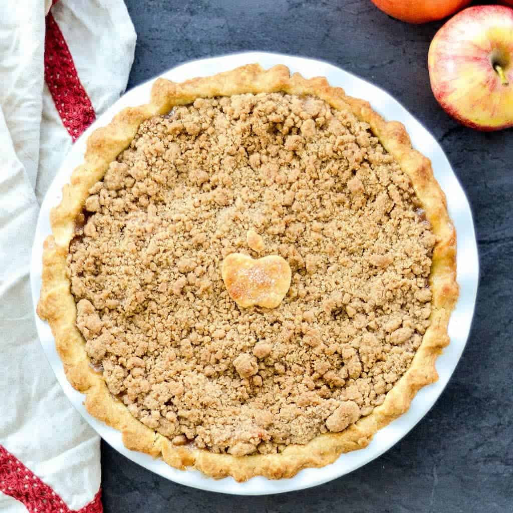The best homemade Apple Crumble Pie recipe uses only a few ingredients and is made completely from scratch! It's the perfect fall dessert! Gluten-free & vegan options!