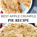 The top image has an apple pie with a piece missing on a pie pan. The bottom image is a full picture of an apple pie.