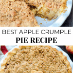 The top image is an overview image with an apple pie with a piece missing. The bottom image is an image of the full pie with no missing pieces.