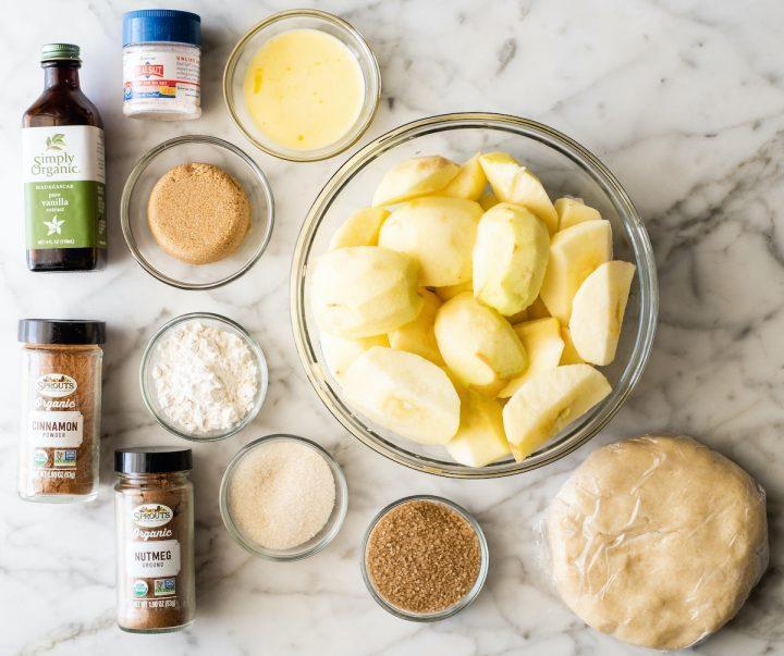 ingredients in this apple crumble pie recipe