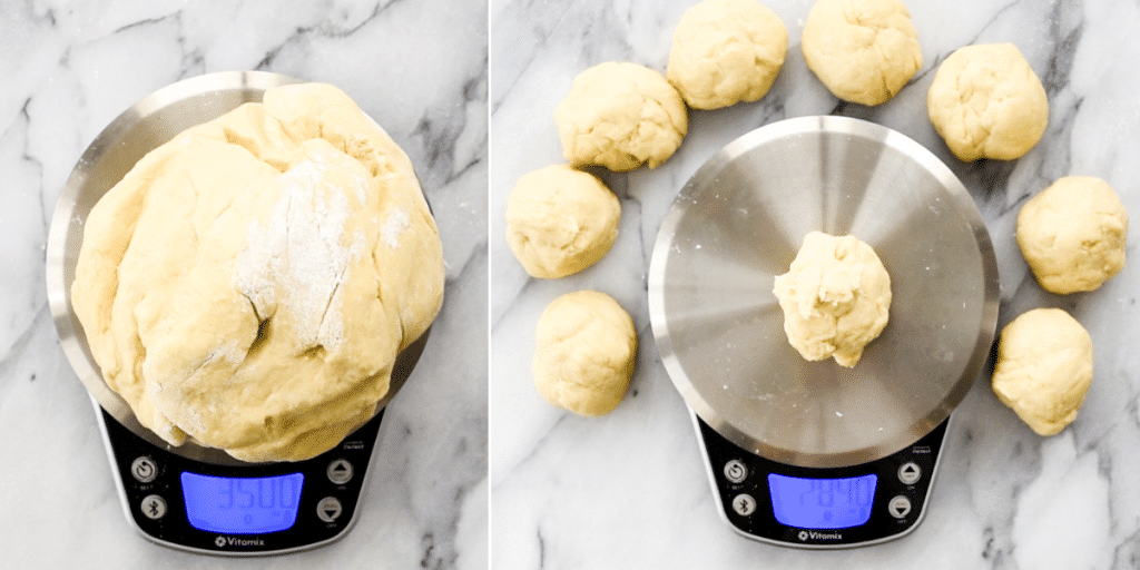 two photos showing an overhead view of weighing the best dinner roll dough and dividing it into rolls
