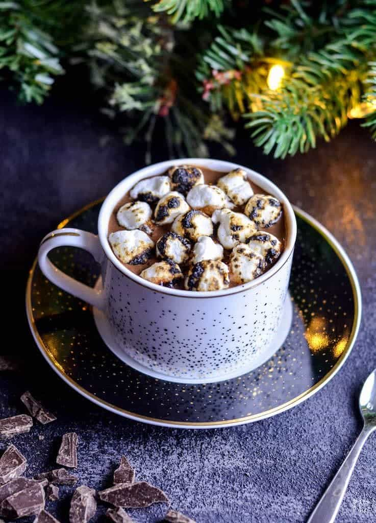 Front view of a mug of Dairy-Free Hot Chocolate with toasted marshmallows