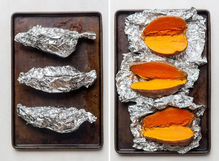two photos showing how to make healthy sweet potato casserole - baking sweet potatoes