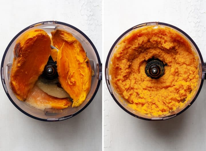 two photos showing how to make healthy sweet potato casserole in a food processor