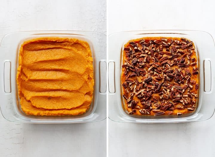 two photos showing how to make healthy sweet potato casserole in a baking dish
