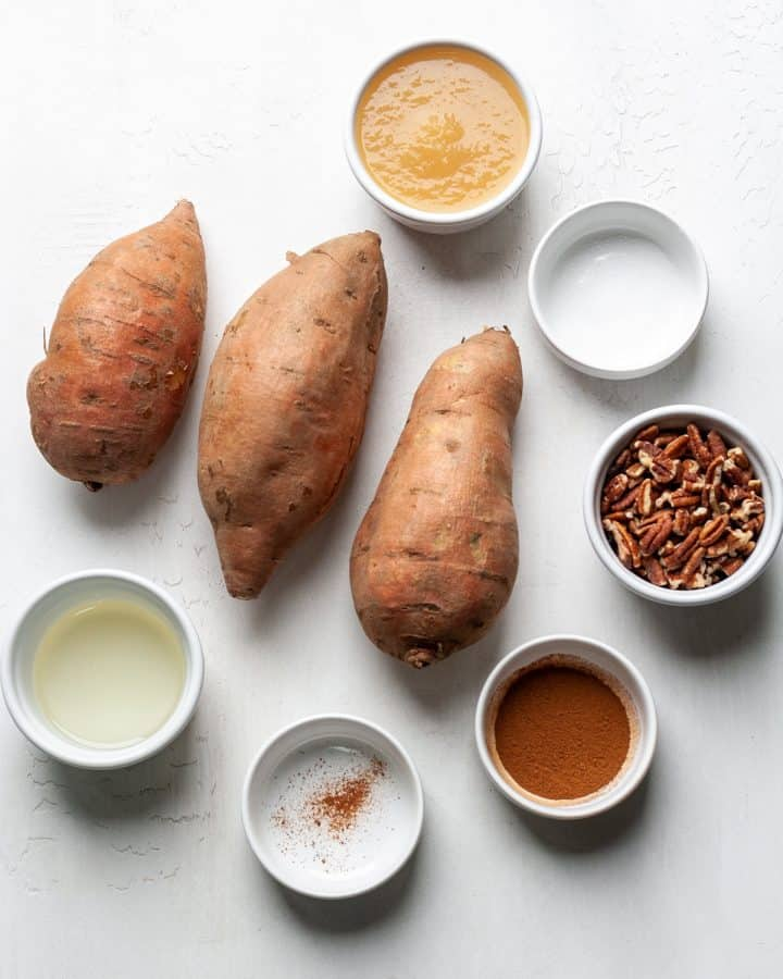 overhead photo of the ingredients in this Healthy Sweet Potato Casserole recipe