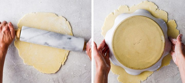 two photos showing how to make an apple pie crust