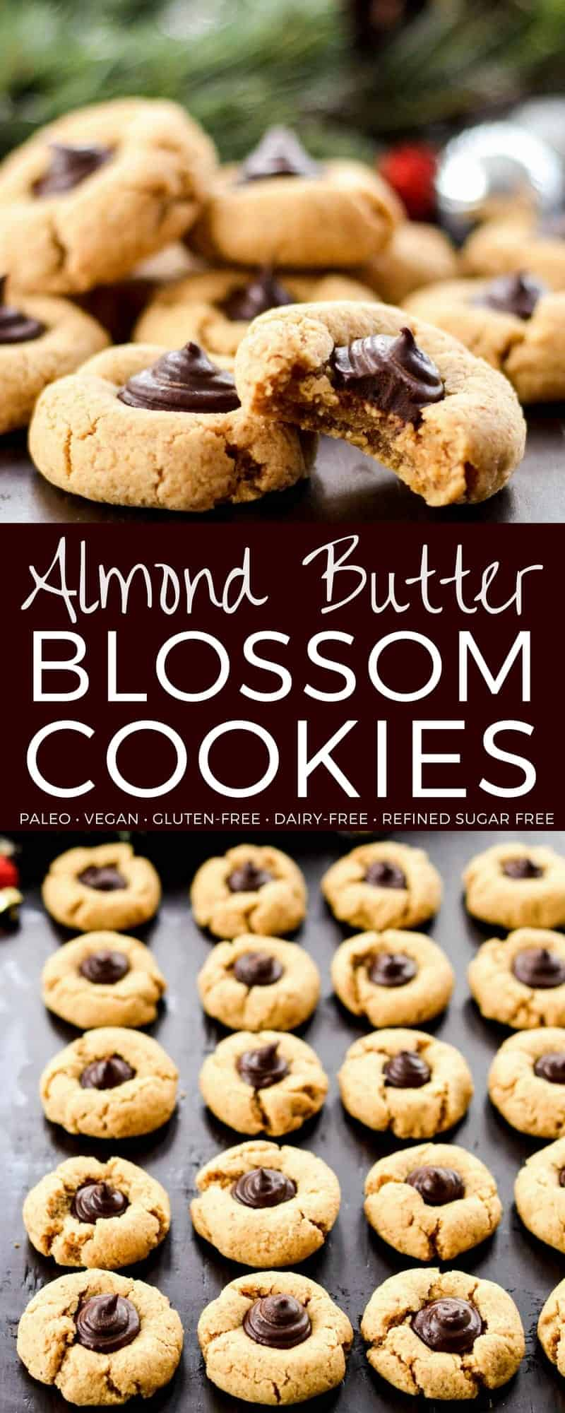 Almond Butter Blossom Cookies! These amazingly chewy, dense yet doughy cookies are easy, healthy and they're paleo, vegan, gluten-free, dairy-free and refined sugar free! #almondbutterblossoms #paleo #cookies #dairyfree #grainfree #glutenfree