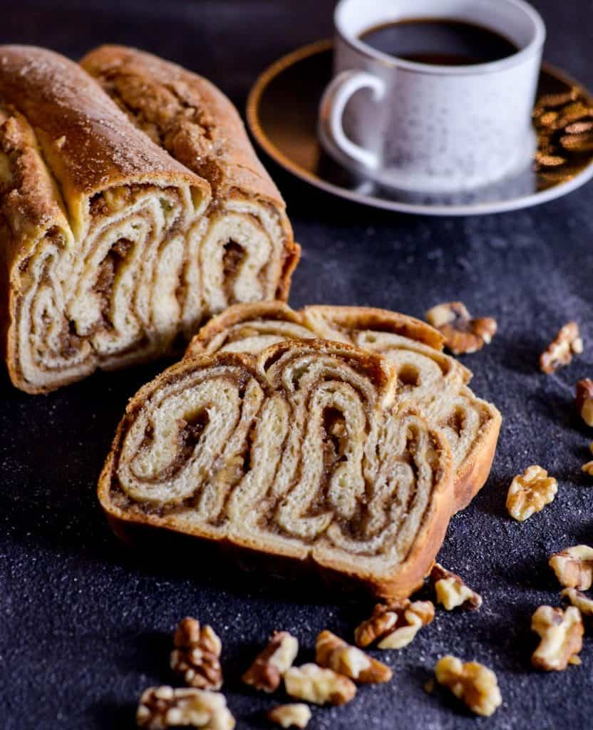 Walnut Cinnamon Swirl Bread! Also known as Povitica. A beautiful recipe, perfect to give as a gift for the holidays!
