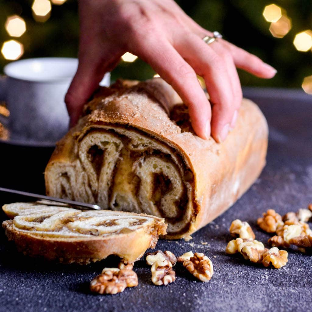 Homemade Walnut Cinnamon Swirl Bread! Also known as Povitica. A beautiful recipe, perfect to give as a gift for the holidays!