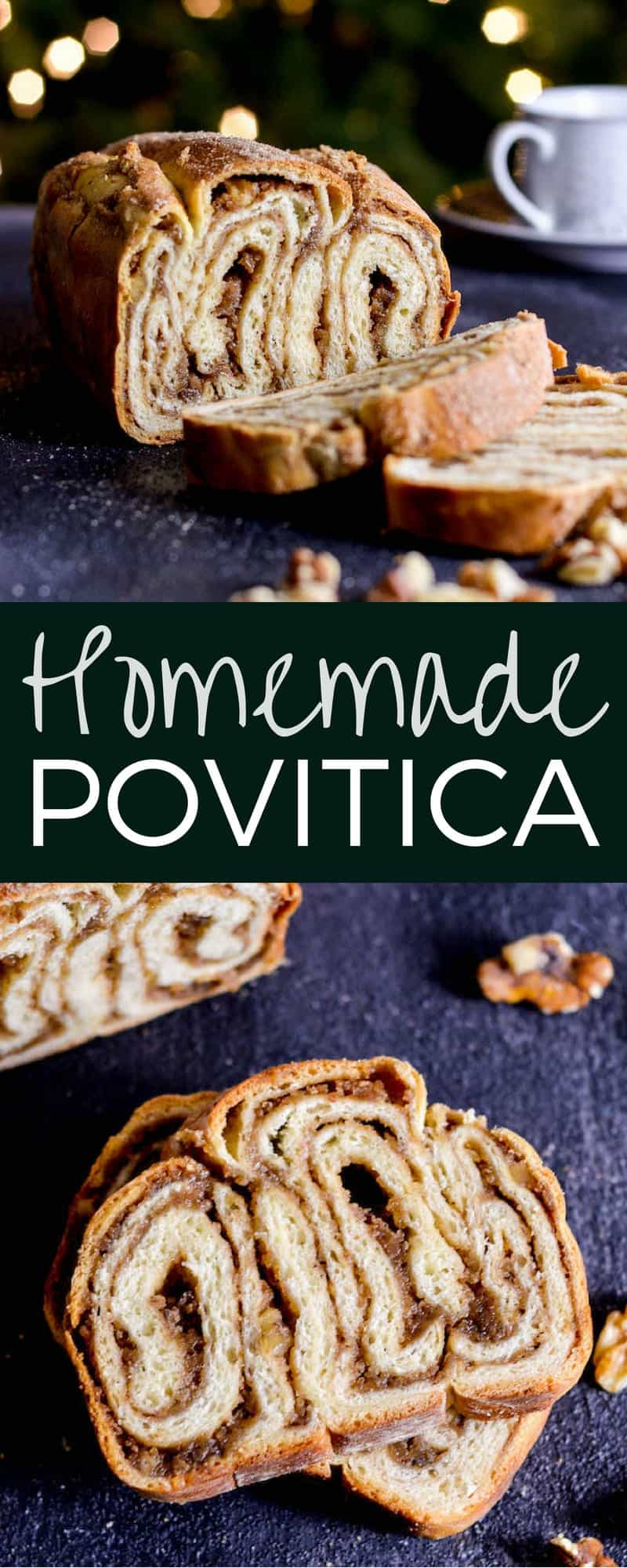 This Homemade Povitica Recipe is a beautiful and delicious treat that's perfect to give as a gift for the holidays! It's a rich cinnamon swirl bread with a cinnamon walnut filling that is an old family favorite! #povitica #bread #homemadebread #poviticarecipe #recipe #holidays #christmas