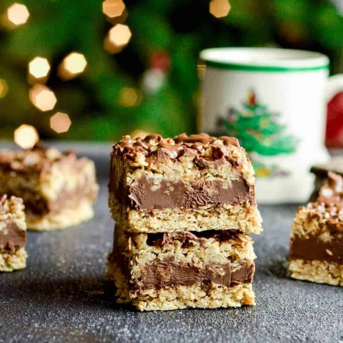 front view of two No-Bake Chocolate Peanut Butter Oatmeal Bars stacked on each other