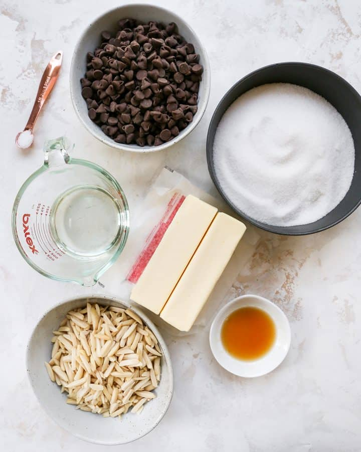 overhead view of the ingredients in this homemade toffee recipe