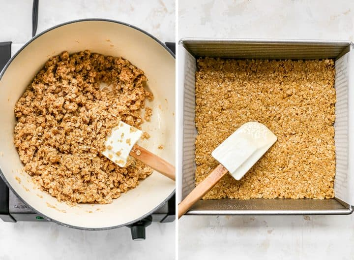 two overhead photos showing how to make peanut butter oatmeal bars