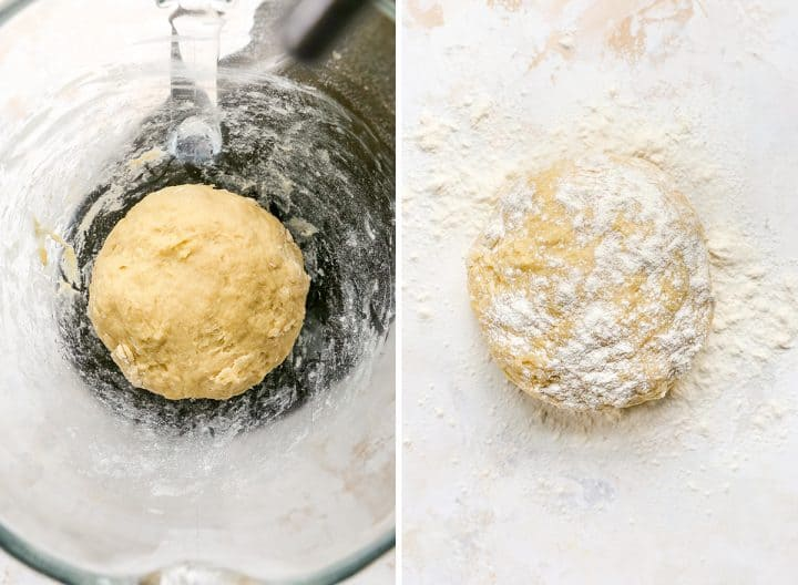 two overhead photos showing How to make Povitica Bread Recipe