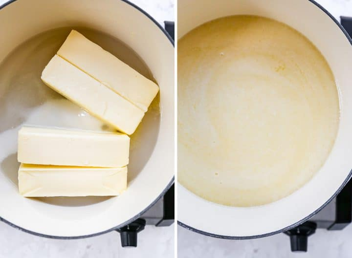 two overhead photos showing how to make toffee
