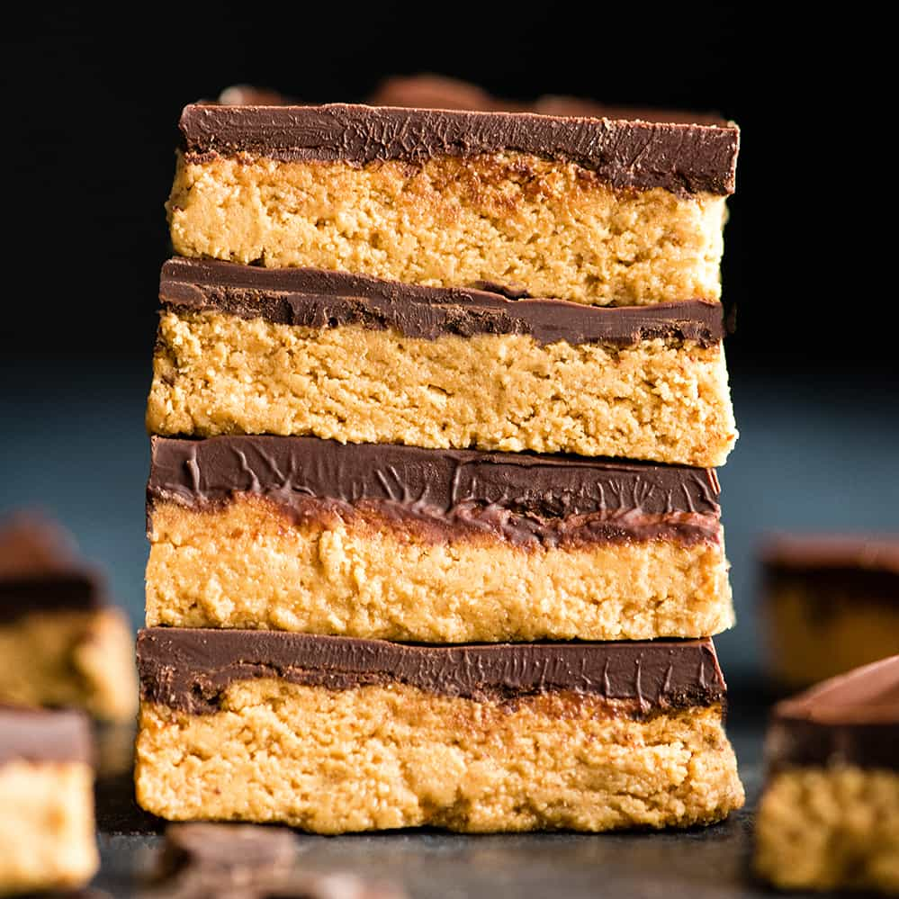 front view of a stack of four No-Bake Chocolate Peanut Butter Bars
