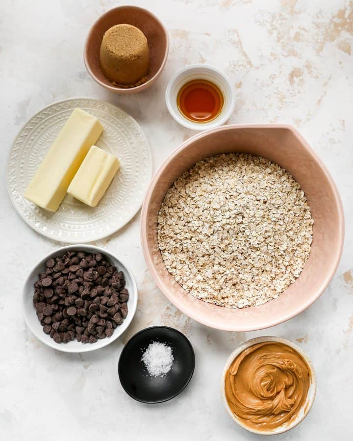 Overhead photo of the ingredients in this Chocolate Peanut Butter Oatmeal Bars recipe
